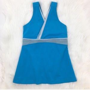 Lululemon Athletica Blue Gingham Deep V Tank Top